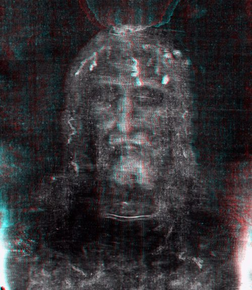 Anaglyph of shroud's face